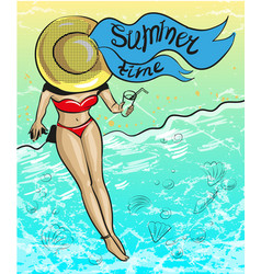 Vintage pop art summer time vector