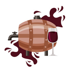 wine wooden barrel and glass cup vector image