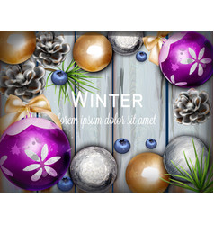 winter background with cute decorations vector image