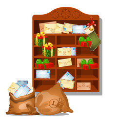 wooden shelf santa claus with christmas gifts and vector image