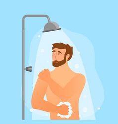 young man taking shower cartoon vector image