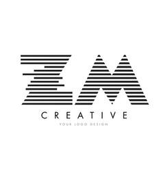 Zm z m zebra letter logo design with black and vector