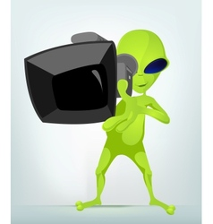 Cartoon Video Cameraman Alien vector image vector image
