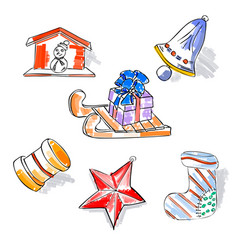 christmas retro sketch doodles elements sled star vector image