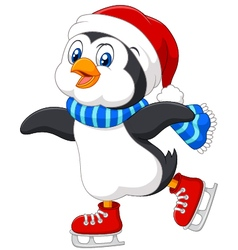 Cute cartoon penguin doing ice skating isolated vector image vector image