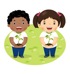 kids holding young plant vector image vector image