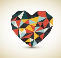 retro skladane srdce vector image vector image