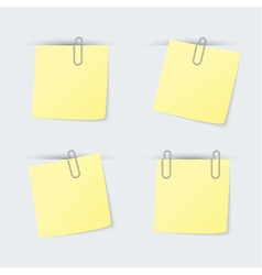 Set of yellow sheets attached clip vector image