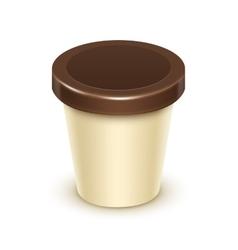 Tub Bucket For Vanilla Chocolate Dessert Yogurt vector image
