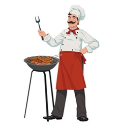 chef cooks barbecue sausages vector image