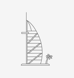 dubaiburj al arab hotel vector image