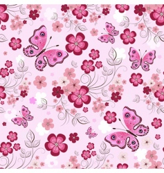 floral butterfly pattern vector image