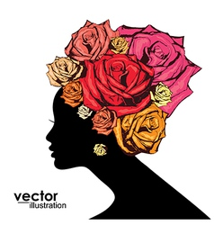 Woman face silhouette vector image vector image