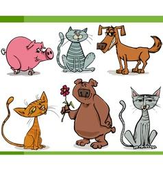 animals sketch cartoon set vector image vector image