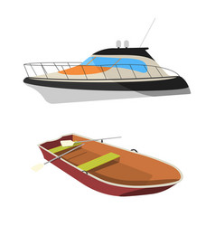 boat and raft flat icon vector image vector image