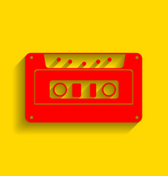 cassette icon audio tape sign red icon vector image vector image