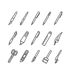 drawing and writing tools stationery line vector image