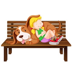 Girl and dog on the bench vector image