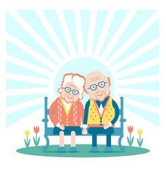 grandparents are sitting outdoor vector image