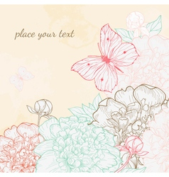 Hand drawn with peony and butterfly in vintage sty vector image