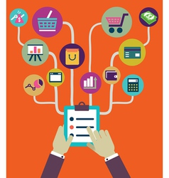 Management of business and payment Flat style vector image