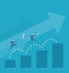 Business man run over bar graph vector image vector image