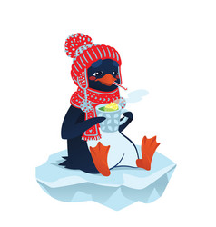 cute sick penguin in funny hat and scarf vector image