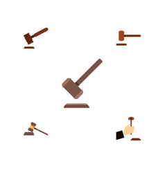 flat icon hammer set of tribunal court justice vector image vector image