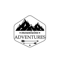 mountains and outdoor adventures icon with texture vector image