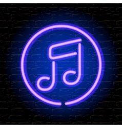 Neon music note on the brick wall vector image vector image