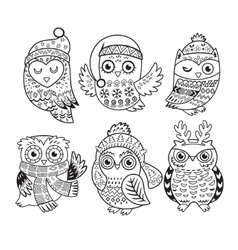 outline set with Christmas owls vector image vector image