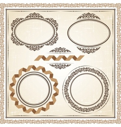 vintage frames at grunge background with retro vector image