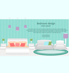 web design banner of bedroom interior with vector image vector image