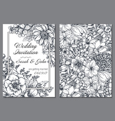wedding invitation with hand drawn spring flowers vector image vector image