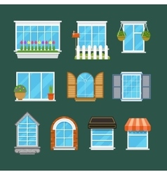 Windows with window sills curtains flowers vector image
