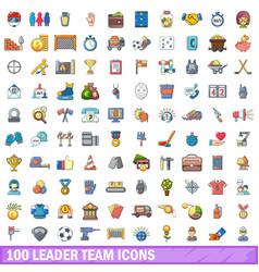 100 leader team icons set cartoon style vector