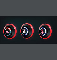 3d collection car dashboard panel vector