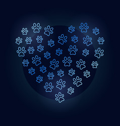 animals footprints in heart shape blue vector image