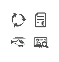 Attachment recycle and helicopter icons seo vector