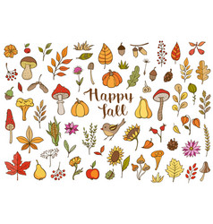 autumn doodle design elements vector image