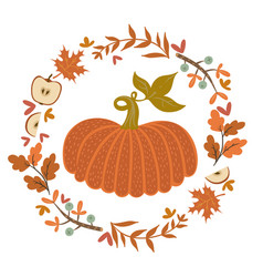 autumn wreath and pumpkin isolate on a white vector image