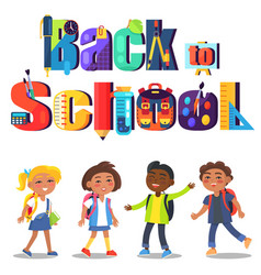 Back to school poster with inscription and kids vector