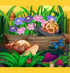Background scene with insects in park vector