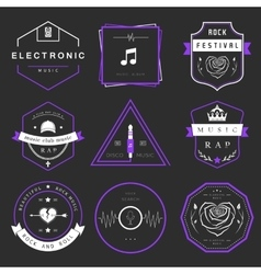 Badges Rock Rap Classical and Disco Music vector image
