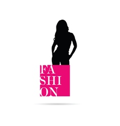 banner fashion pink with girl silhouette vector image