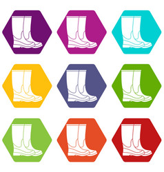 boots icon set color hexahedron vector image