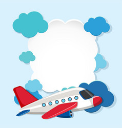 Border template with white airplane vector