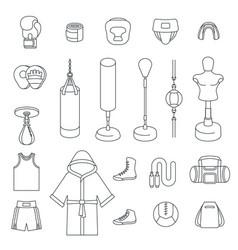 boxing icons flat thin line icons vector image