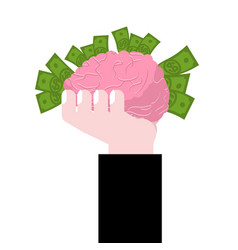 brain in hand human brains and money business vector image