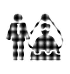 Bride and groom halftone dotted icon vector